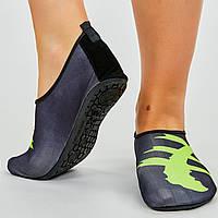 Обувь Skin Shoes для спорта и йоги Иероглиф размер S-3XL-34-45 длина стопы 20-29см, черный-салатовый PZ-PL-0419-BK