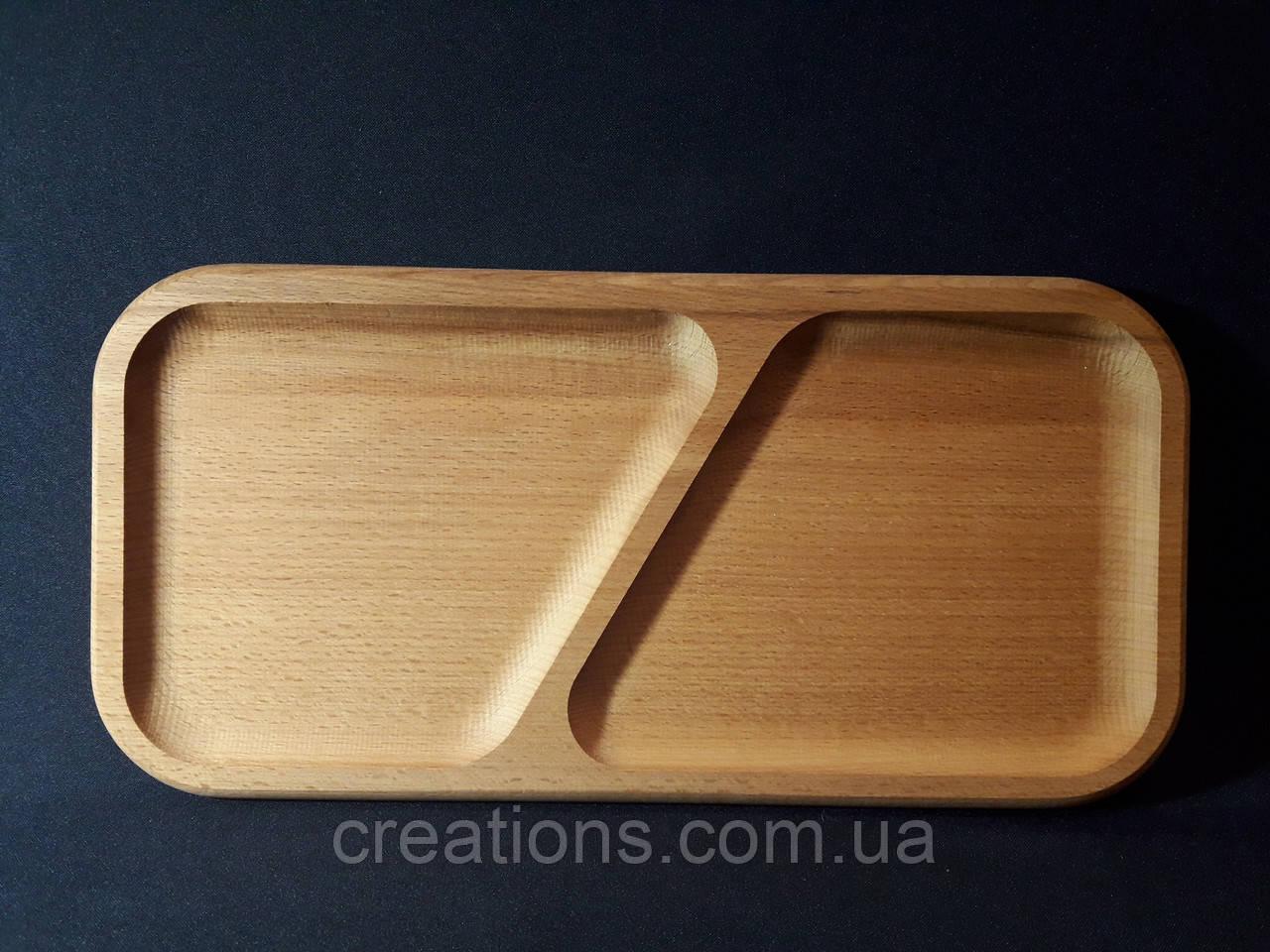 Менажница деревянная 37х18 см. прямоугольная на 2 секции из бука БМ-23