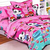 Детский постельный комплект Куклы Лол 1,5 Tag R C39, Розовый