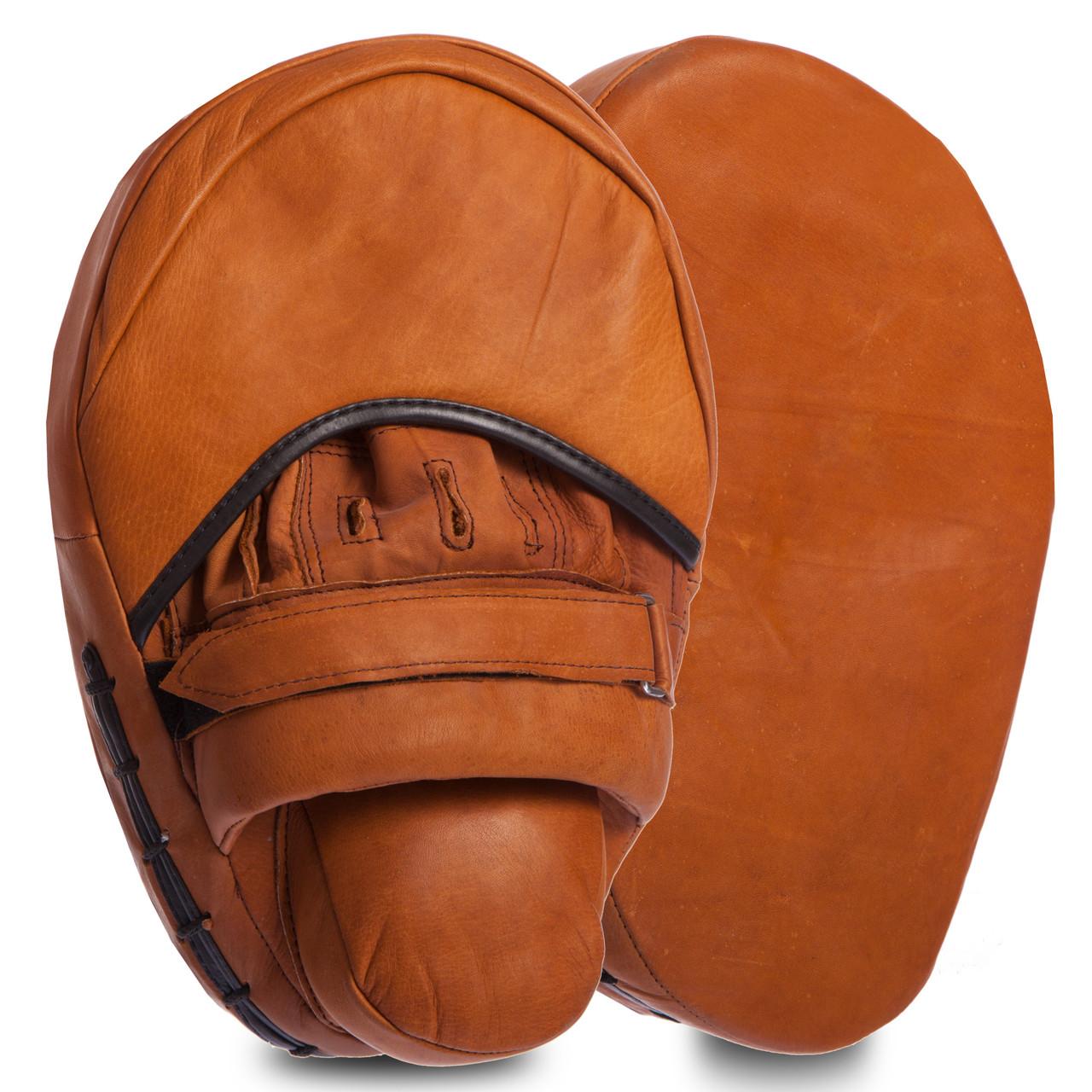 Лапа Прямая кожаная (2шт) VINTAGE Coaching Pads (крепление на липучке, р-р 31х20х9см, коричневый)