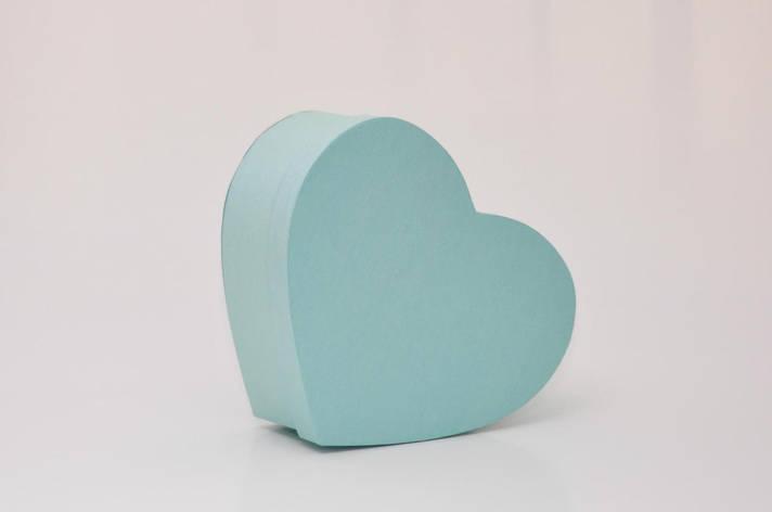 Коробка сердце 30*25*12см мятные нити блеск, фото 2