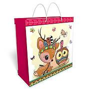 Бумажный подарочный пакет большой квадрат 32.3*32.3*14см №34,065 СП