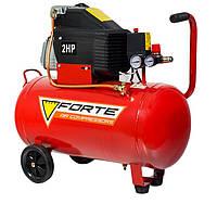 Двухцилиндровый поршневой компрессор электрический Forte FL 50 ресивер 50 л, для пескоструя, покраски