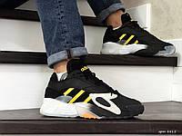 Мужские кроссовки Adidas Streetball,черно белые с желтым