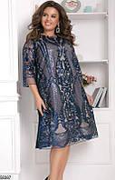 Красивое вечернее платье женское креп-дайвинг+пайетка большого размера 48-58,