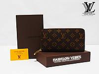 Кошелек на молнии Louis Vuitton коричневая монограмма ЛВ