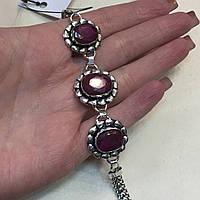 Браслет рубин. Браслет с натуральным камнем рубин Индия в серебре браслет с рубином