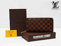 Кошелек на молнии Louis Vuitton коричневая клетка ЛВ