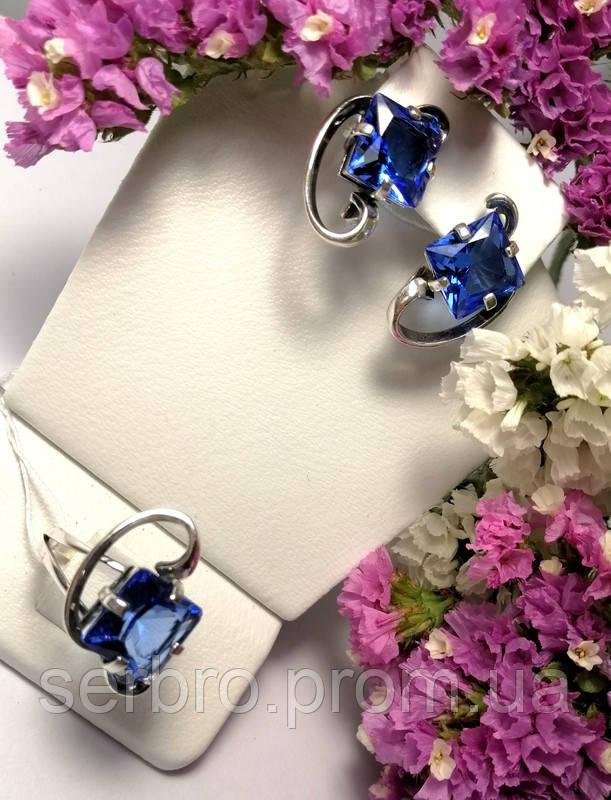 Серебряный комплект с синим фианитом Эпл