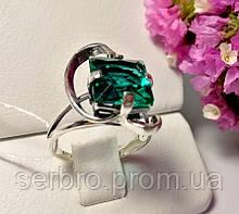 Серебряное колечко с зеленым камнем Эпл