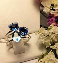 Потрійне кільце з синім кубічним цирконом срібло Тріо