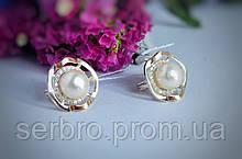 Срібні сережки у вигляді квітки з білим перлами Спокуса