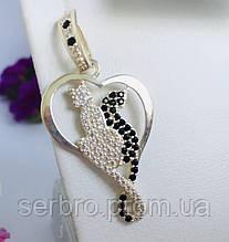 Срібний кулон-підвіска з фіанітами Котики