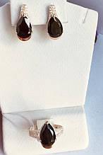 Серебряный набор с черным каплевидным камнем Янина