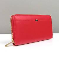 Кошелек кожаный на молнии женский красный Prensiti 135-624