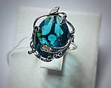 Кільце в сріблі з великим блакитним фианитом Ностальгія, фото 3