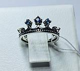 Кольцо в серебре с синим фианитом Корона, фото 2