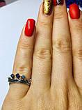 Кольцо в серебре с синим фианитом Корона, фото 3