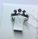 Кольцо в серебре с синим фианитом Корона, фото 4
