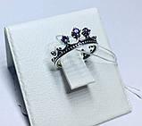 Кольцо в серебре с синим фианитом Корона, фото 5