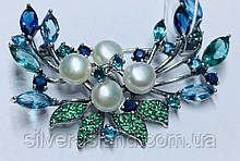 Брошка в серебре с синьо-зеленым цирконом и жемчугом Гламур