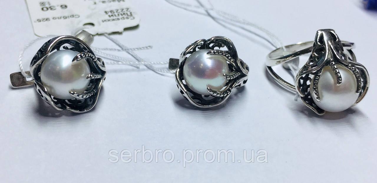 Комплект з білим перлами срібло Лілі