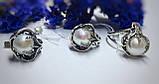 Комплект з білим перлами срібло Лілі, фото 2