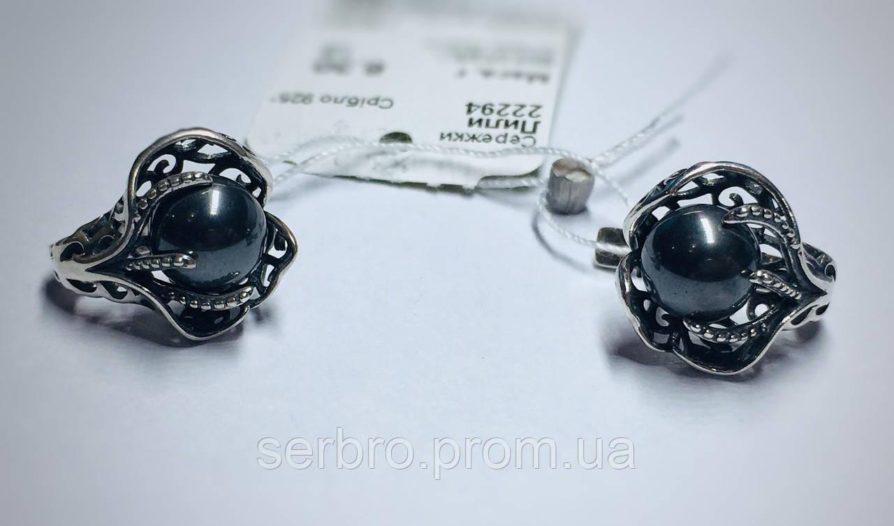 Сережки з чорним перлами в сріблі Лілі
