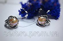 Срібні сережки з перлами Лілі