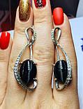 Серебряные серьги с агатом Филадельфия, фото 3