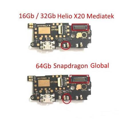 Нижня плата Xiaomi Redmi Note 4 Helio X20 Mediatek 16Gb32Gb з роз'ємом зарядки і мікрофоном, широкий, фото 2