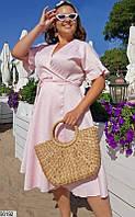 Платье женское летнее легкое удлиненное на запах жаккард 48-58.