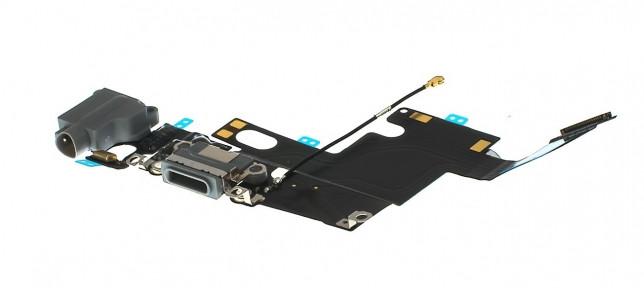 Шлейф Apple iPhone 6 с разъемом зарядки, коннектором наушников и микрофоном белый