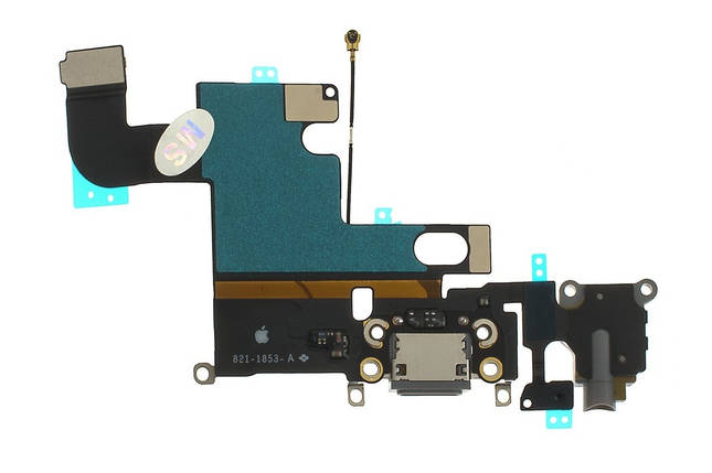 Шлейф Apple iPhone 6 с разъемом зарядки, коннектором наушников и микрофоном белый, фото 2