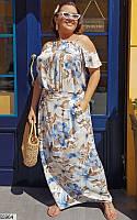 Платье женское летнее длинное легкое штапель больших размеров 60-64 батал