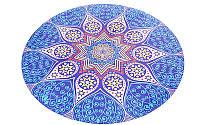 Коврик для йоги круглый Замшевый каучуковый двухслойный с чехлом 3мм (диаметр 150см, синий-белый, с принтом Возрождение) PZ-FI-6218-2-C