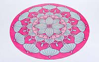Коврик для йоги круглый Замшевый каучуковый двухслойный с чехлом 3мм (диаметр 150см, розовый-голубой, с принтом Шелковый Путь) PZ-FI-6218-4-C