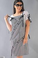 Сарафан+футболка женский летний полоска стильный турецкий стрейч-коттон 50-56.