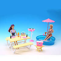 """Мебель """"Gloria"""" с бассейном для кукол 29 см,летний стол, посуда, зонт пляжный, кор. /36-3/"""