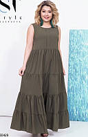 Длинное свободное летнее платье женское летний креп 50-56 размеров