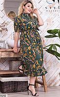 Платье женское летнее длинное свободное легкое софт 48-58.