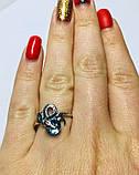 Серебряное кольцо с голубым цирконом Змейка, фото 3