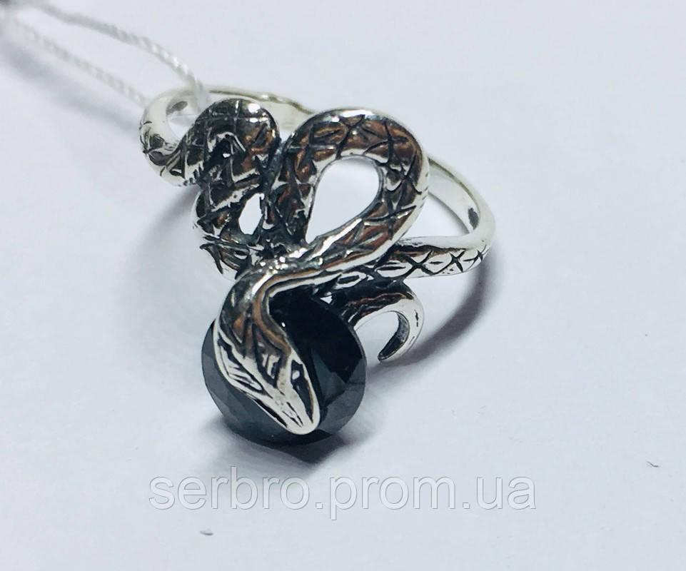 Колечко в сріблі з чорним цирконом Змійка