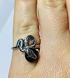 Колечко в сріблі з чорним цирконом Змійка, фото 3