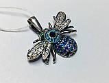 Срібний кулон з блакитним цирконом Джміль, фото 3