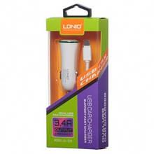 Автомобильное зарядное устройство LDNIO DL-C28 (2 USB, 3.4 A,  кабель Lightining) White