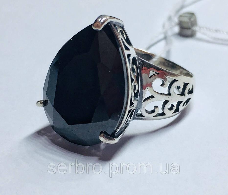 Срібний перстень з чорним каменем Агата