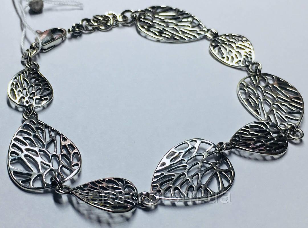 Срібний браслет у вигляді листочків Блюз