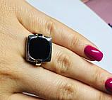 Квадратное кольцо с ониксом в серебре Николь, фото 3