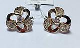 Серебряные сережки с золотом и  цирконом Инес, фото 2